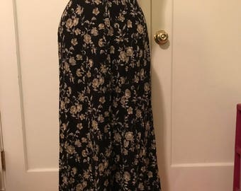 90's Express maxi button-down floral skirt M