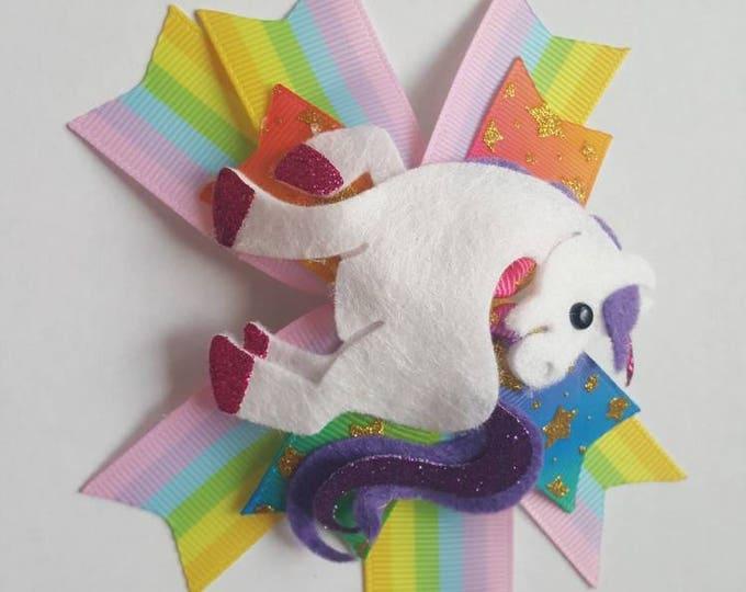 Featured listing image: Beautiful unicorn rainbow rosette bow with crocodile clip