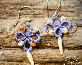 Lilac Tatted Lace Earrings with Shell Accents