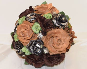 Mossy Oak Camo Wedding Bouquet, Camo Bridal Bouquet, Tan Bouquet, Brown Bouquet, Green Bouquet, Fall Bouquet, Bling Bouquet, Country Bouquet