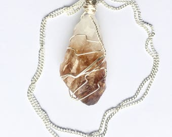 Raw Citrine Point Healing Crystal Pendant Necklace