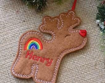 personalised christmas decoration, reindeer christmas decoration, christmas decoration, rainbow, tree decoration, reindeer, xmas tree dec