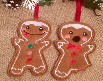 gingerbread decorations, bitten gingerbread decoration, gingerbread men set, traditional christmas, tree decoration, tree ornament, quirky