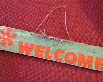 "Handcrafted ""Welcome"" Wood Sign"