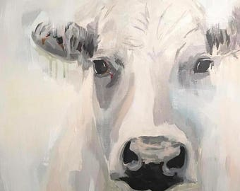 a rustic abstract cow in blue and gray farmhouse art