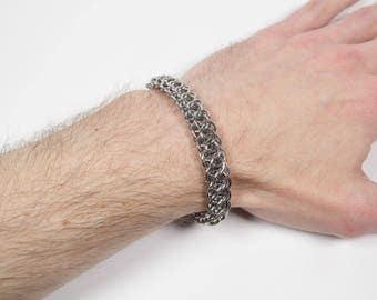 Syringa Bracelet, Chainmaille Bracelet, Stainless Steel, Chainmail Bracelet, Chain Maille, Chain Mail, Mens Bracelet, Mens Jewelry
