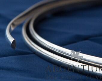 935 Argentium Sterling Silver Half-Round Wire (Half Hard)