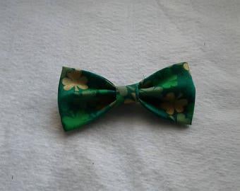 St Patrick Bow Tie Clip on Bowtie Shamrock Theme