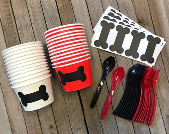 Dog Themed Ice Cream Cups, Bone Treat Cups, Dog Birthday Party, Treat Cups for 24