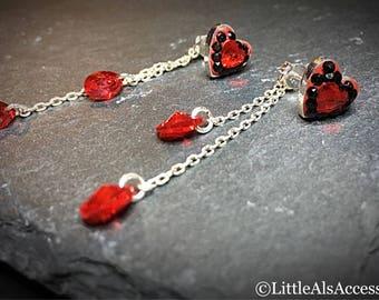 Heart Earrings, Red Swarovski Crystal Earrings, Sterling Silver Heart Earrings, Red Heart Earrings, Silver Jewelry, Sterling Silver Heart