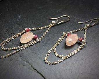 Pink Morganite Earrings, Long Dangly Sterling Silver Earrings, Handmade Silver Earrings, Silver Chain Earrings, Morganite & Ruby Earrings