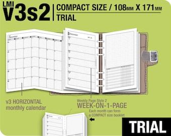 TRIAL [FC compact / B6 slim v3s2 w/o DAILY ] November to December 2017 - Filofax Inserts Refills Printable Binder Planner Midori