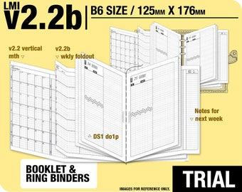 Trial [B6 v2.2b w ds1 do1p] February to April 2018 - Filofax Inserts Refills Printable Binder Planner Midori.