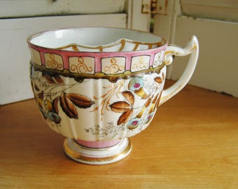 Antique Hand Painted Blue & Brown Flowers Floral Gold Highlighted Mustache Mug