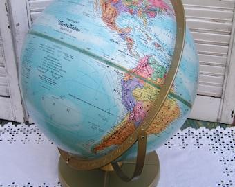 "Vintage Retro Replogle 12"" World Nation Globe Double Axis Globe Colorful Graphics Fantastic Condition 12"" World Nation Globe Tabletop Globe"