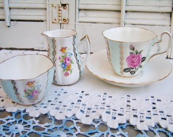 Vintage Mismatched Coordinating Set of Tea Cup Saucer Creamer and Sugar English Bone China Cottage Chic Bridal Party Baby Shower Tea Party