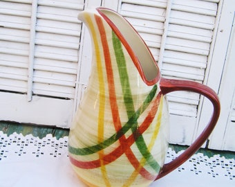 "Vintage Vernono Ware Vernonware Large Homespun Pattern Ice Lip Pitcher 11.25"" Tall Beautiful Condition Mid Century Pitcher"