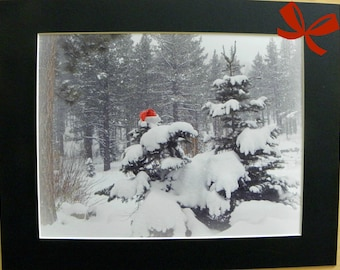 """ELUSIVE SANTA Holiday Decoration, frame-ready, including 11"""" x 14"""" black mat, created by Pam Ponsart of Pam's Fab Photos"""