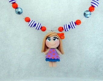 Girl necklace, girl necklace, polymer clay, fimo necklace girls necklace children necklace, girl, girl gift, jewelry collection, small price