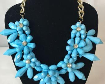 Stunning Blue Beaded Flower Necklace