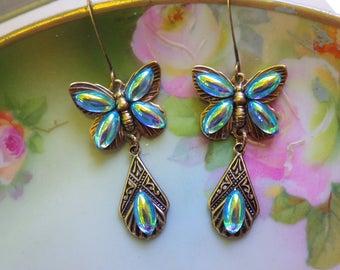 Butterfly Earrings ~ Art Nouveau ~ Vintage Glass ~ Aqua Blue ~ Vintage Style ~ by LadyofTheLakeJewels