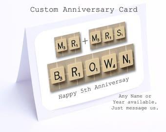 5th Anniversary Card in Scrabble