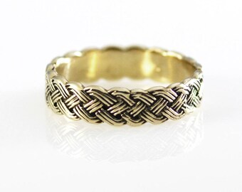 18k White Solid Gold Woven Band Size 12