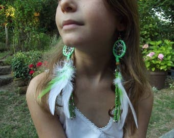 """Earrings feathers """"dream catcher"""" green tall 10/15"""