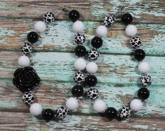Black and White Cow Print Handmade Chunky Bead Bubblegum Boutique Necklace