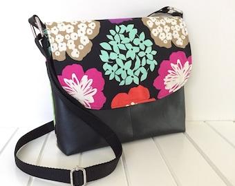 Cross Body Bag, Handbag, Messenger Bag, Handmade Purse, Floral Fabric Bag, Handmade Fabric Bag, Black Vinyl Bag, Vegan Bag, Echino fabric