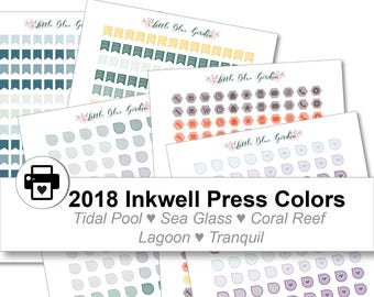 2018 Inkwell Press Planner & others Mini Icons + Flags Printable Sticker Kit, Tidal Pool, Sea Glass, Coral Reef, Lagoon - Instant Download