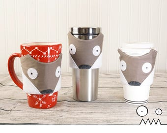 Cup sleeve, Falco the Fox --- mug cozy, cup sleeve, coffee lover, take out coffee, teacher gift, office gift, fox lover, Handmade by Funky