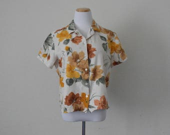 FREE usa SHIPPING boxy top/blouse short sleeve/ floral blouse/ jungle shirt button up shirt tropical/linen ramie rayon blouse size XL