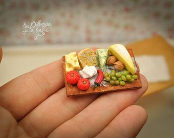 Cheese cutting board food Miniature Dollhouse miniature food cheese Board grapes grapes