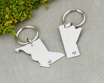 ANY TWO PROVINCES Canada Keychain or Necklace Set - Best Friend Gift - Couples Gift - Long Distance Love