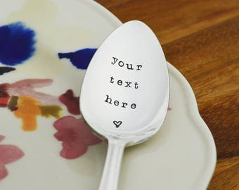 Personalized Vintage Spoon • Stamped Silverware • Create Your Own Custom Stamped Spoon
