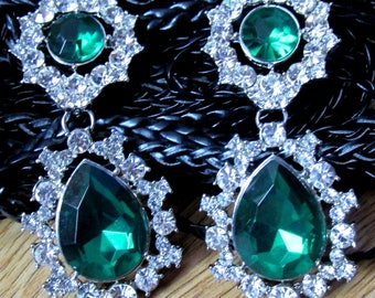 Crystal encrusted emerald green teardrop dangle stud earrings