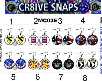 Military 1in Earrings. Armed Forces  Veterans,  MC03E