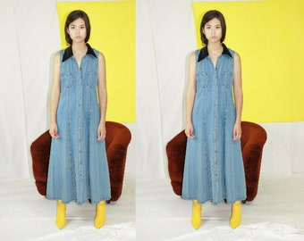 Vintage Denim Maxi Dress with Contrast Collar Size 9