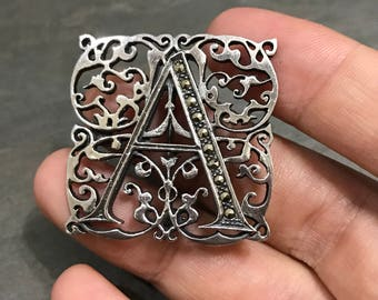 """Vintage sterling silver handmade brooch, square filigree  tag with initial """"A"""" engraved, stamped 925"""