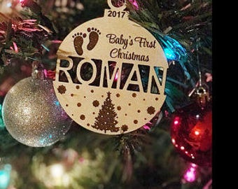 Personalized Baby's First Christmas Ornament, Wooden Ornament, Baby Shower Gift, Newborn Keepsake, Ornament, Baby Gift, Custom, Engraved