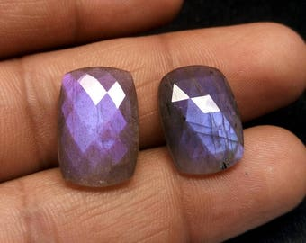 Faceted Purple Labradorite matched pair - 19x13 mm Purple Labradorite matched pair Briolette Labradorite
