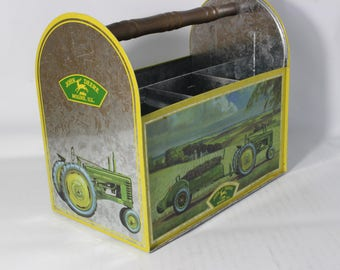 Vintage John Deere Tractor Collectible Tin Tool Box Organizer The Tin Company
