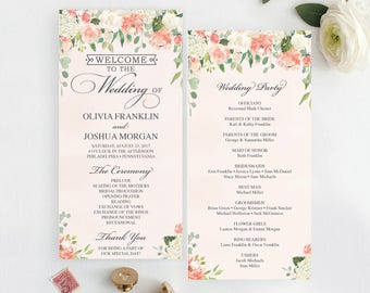 Printable template etsy wedding programs template printable wedding program ceremony printable template editable program instant pronofoot35fo Images
