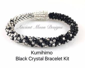 Kit: Kumihimo Black Crystal Bracelet