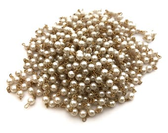 4ft Vintage Faux Pearl Beaded Gold Plated Chain - C048