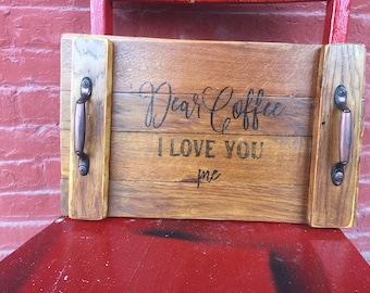 Wood Table Tray | Wood Sign | Coffee Sign | Coffee Tray | Solid wood Table tray | Coffee House | Dear Coffee |