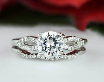 50% off 1.25 ctw Infinity Gatsby Bridal Set, Round Man Made Diamond Simulants, Art Deco Engagement Ring, Wedding Ring, Sterling Silver
