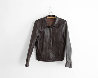 1970s brown Leather Jacket - Made in France - Lightweight leather jacket - Women Size M