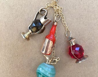 Gold Filled and Glass Bottle Charm Bundle